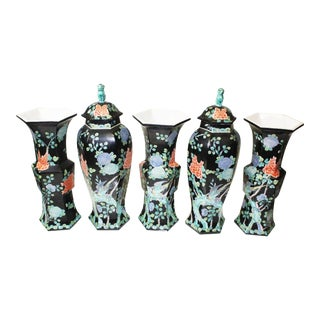 Chinese Garniture Black Vases - 5 Pieces For Sale