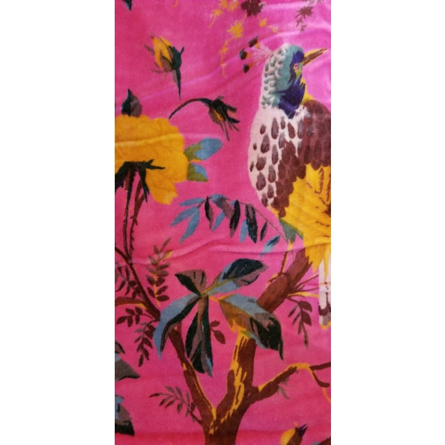 5 Yards Pink Bird Floral Chinoiseri Cotton Velvet Upholstery Fabric For Sale - Image 4 of 7