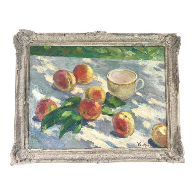20th Century Impressionistic Oil Painting of Peaches on Table For Sale