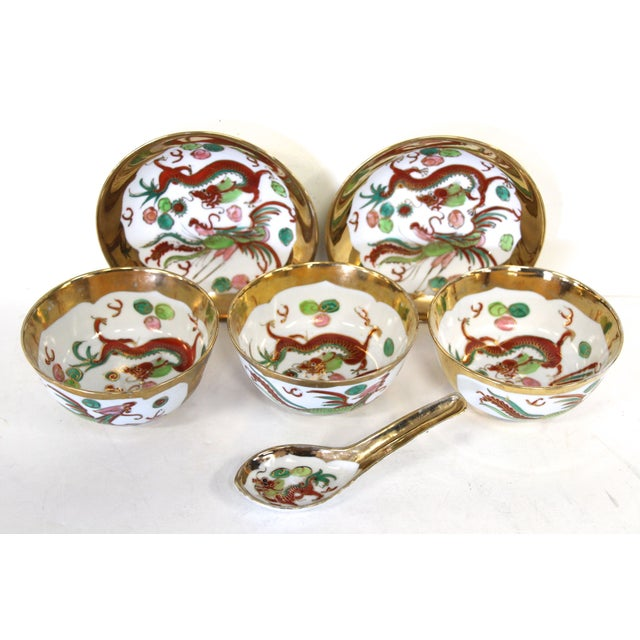 Chinese Porcelain Soup Bowl Set - 6 Pieces For Sale - Image 4 of 6