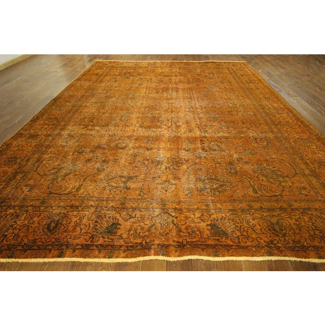 "Orange Tabriz Overdyed Area Rug - 9'10"" X 12'3"" - Image 3 of 10"