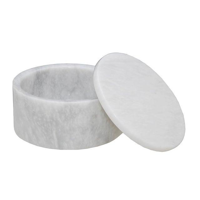 "A Eirenne Collection Pearl White Marble 4"" Circular Keepsake Box."
