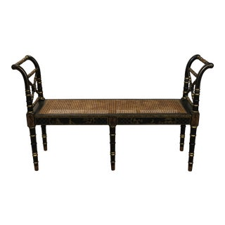 Late 20th Century Vintage Chinoiserie Painted Ebony Bench For Sale