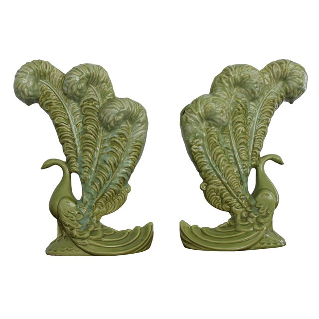 Royal Haeger Mid-Century Green Peacock Vases - A Pair - Image 2 of 4