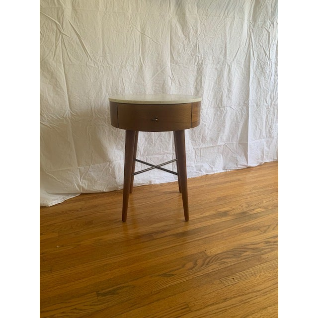 2010s West Elm Mid-Century Modern Marble Top Side Table For Sale - Image 5 of 6