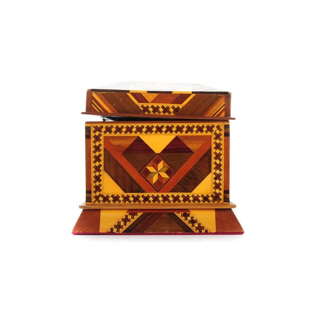 Wood Vintage Geometrical Design Wooden Jewelry Box For Sale - Image 7 of 9