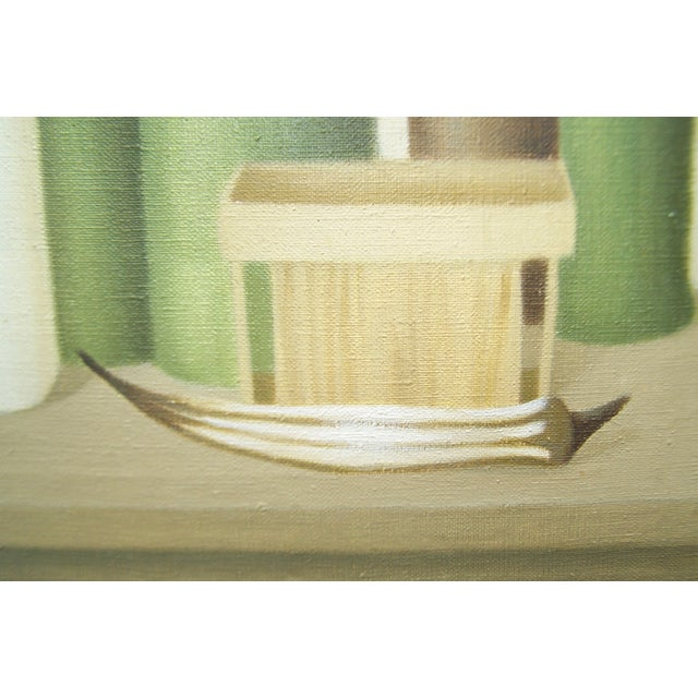 Mid-Century Green Bottles Still Life Painting - Image 5 of 8
