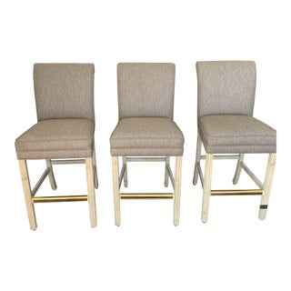 1990s Vintage Counter Height Upholstered Bar Stools - Set of 3 For Sale