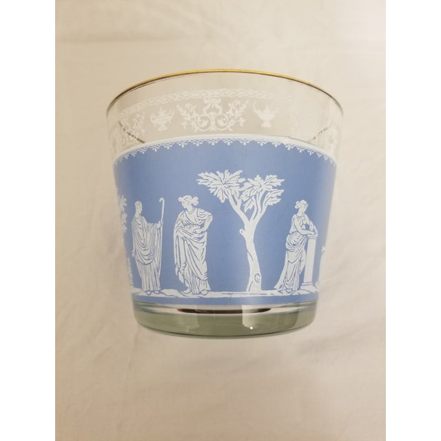 Vintage 1950s Jeanette Glass Co Blue Wedgewood Hellenic Grecian Ice Bucket For Sale In Baltimore - Image 6 of 8
