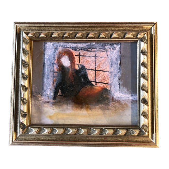Original Vintage Abstract Painting Girl in Interior Painting For Sale