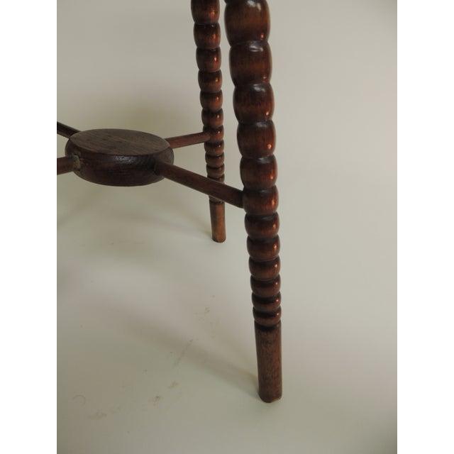 Antique English Small Round Bobbin Leg Four Leg Stool - Image 4 of 5