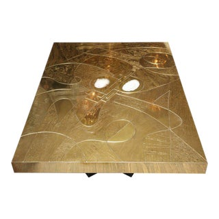 Spectacular Etched Brass and Double Agate Rectangular Cocktail Table For Sale