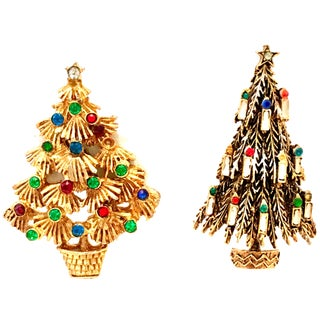 Mid-20th Century Gold & Swarovski Crystal Brooches, Signed - a Pair For Sale