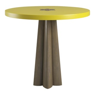 Danielle Smoked Wood Oak Side Table - Citron For Sale