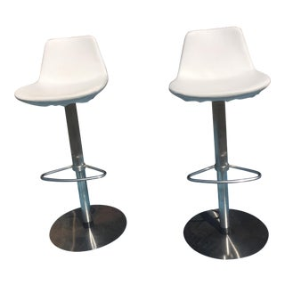 1960s Mid-Century Modern Adjustable White Swivel Bar Stools - a Pair