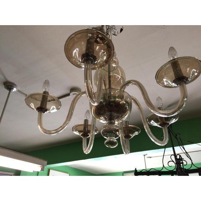 1970s Italian Smoked Glass Chandelier 6 Light For Sale - Image 5 of 7