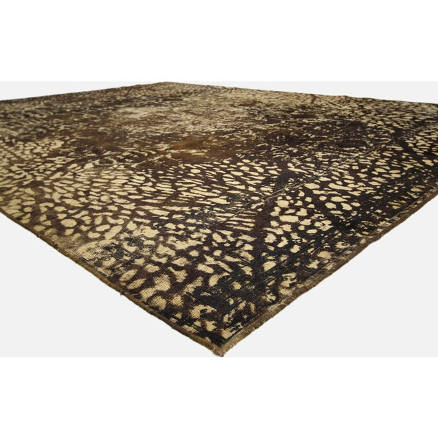 Abstract Overdyed Distressed Vintage Turkish Rug With Modern Style and Bone Inlay Design For Sale - Image 3 of 7