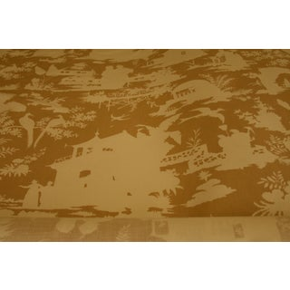 Chinoiserie Quadrille Paradise Background Fabric 9 Yards Taupe on Tint For Sale