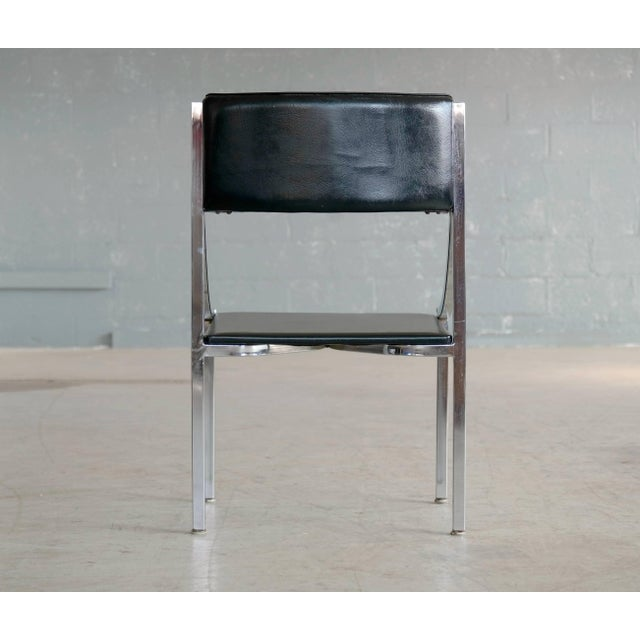 Chrome Wolfgang Hoffmann Side Chair in Chrome and Vinyl for Howell Company For Sale - Image 7 of 10