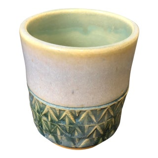 Green Geometric Studio Pottery Cup For Sale