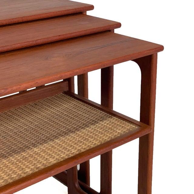 1960s Vintage Danish Teak Nesting Tables With Cane Shelf For Sale - Image 5 of 7