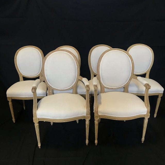Louis XVI Dining Chairs With Original Paint & Linen Uphostery -Set of 6 For Sale - Image 13 of 13