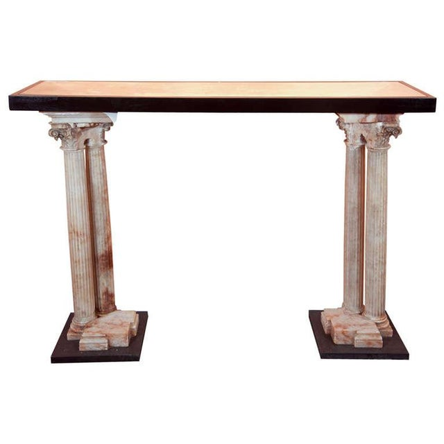 Neoclassical Alabaster Column Console For Sale