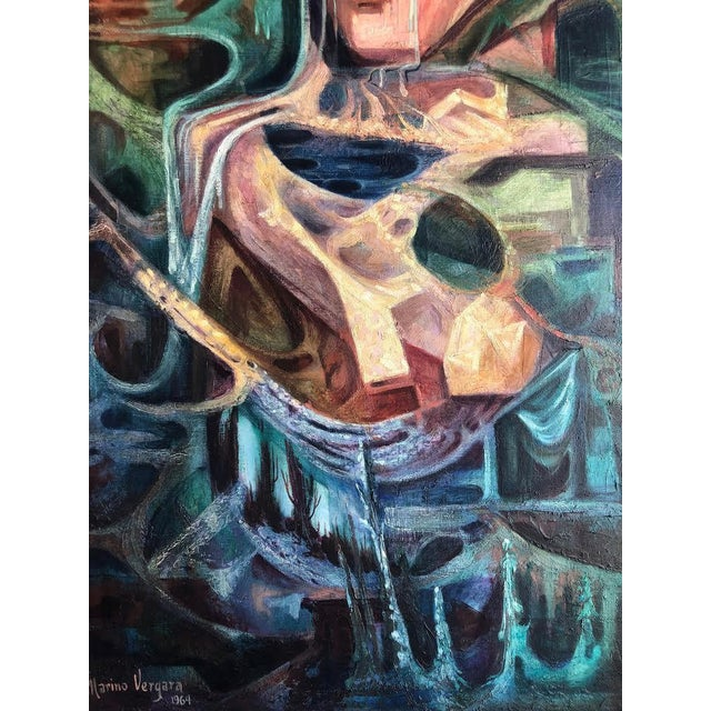 """1960s Vintage Marino Vergara """"Capricho Onirico"""" Abstract Signed Cubist Painting For Sale In Seattle - Image 6 of 10"""