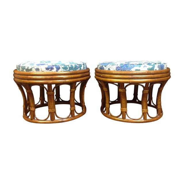 Vintage Bamboo Ottomans - A Pair - Image 1 of 7