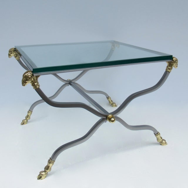 C.1960s-70s Hollywood Regency Italian Brass, Steel and Glass X-Frame, Side Table, Attr. To Maison Jansen For Sale - Image 13 of 13