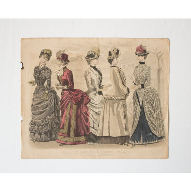 Antique High-Society Dressed Fashion Print, 1880s For Sale - Image 5 of 5