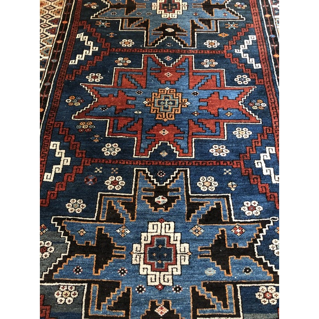Navy Blue Antique Area Rug in Blues and Cranberry For Sale - Image 8 of 10