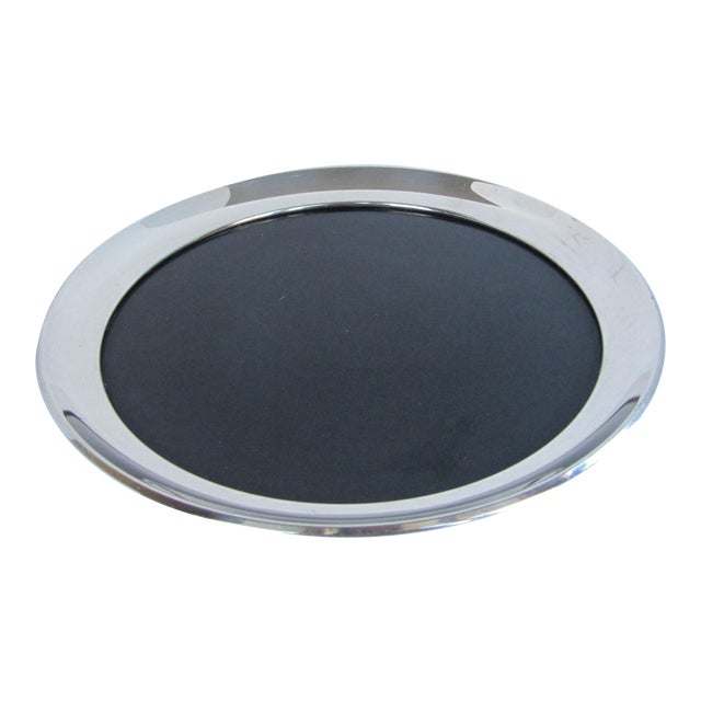 Vintage Silverplate Tray with Black Laminate Insert For Sale