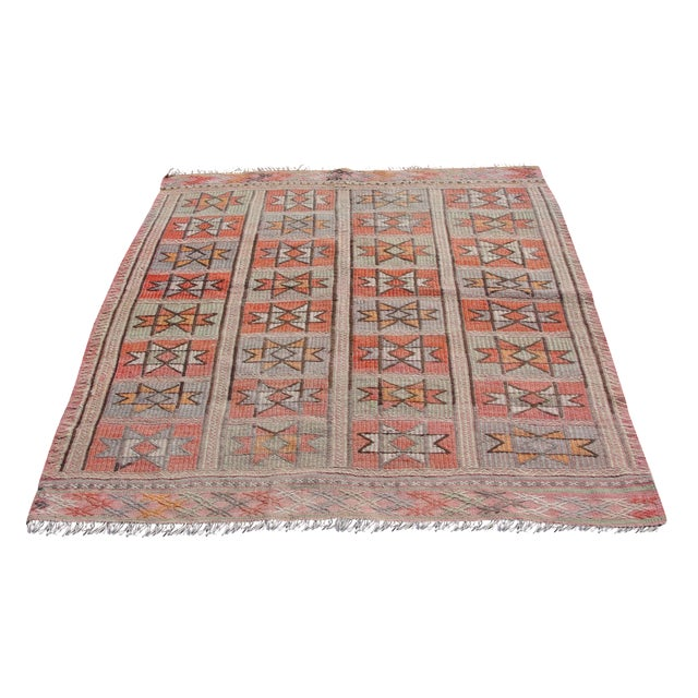 "Vintage Turkish Kilim Rug - 4'9"" x 5'1"" For Sale"