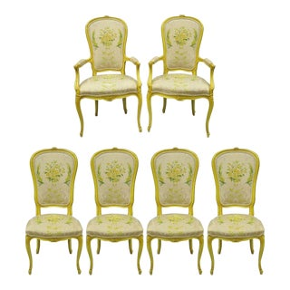 Mid Century Vintage French Provincial Yellow Dining Chairs- Set of 6 For Sale