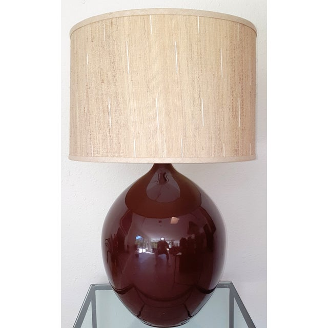 Mid-Century ceramic teardrop lamp in a high gloss rich brown. Circa 1965. No marks but the elegance of the design suggests...