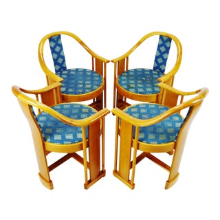 Vintage Art Deco Style Colber Italian Bentwood Armchairs - Set of 4 For Sale