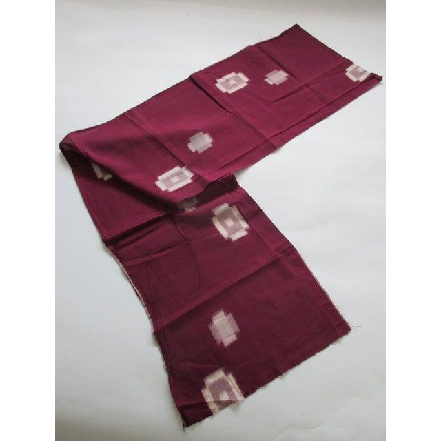 1970s Vintage Burgundy and Natural Obi Textile For Sale - Image 5 of 6