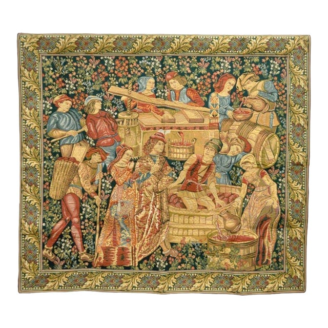 "70""x 62"" French Wall Hanging Tapestry Jacquard Mille-Fleures Medieval Winemakers For Sale"
