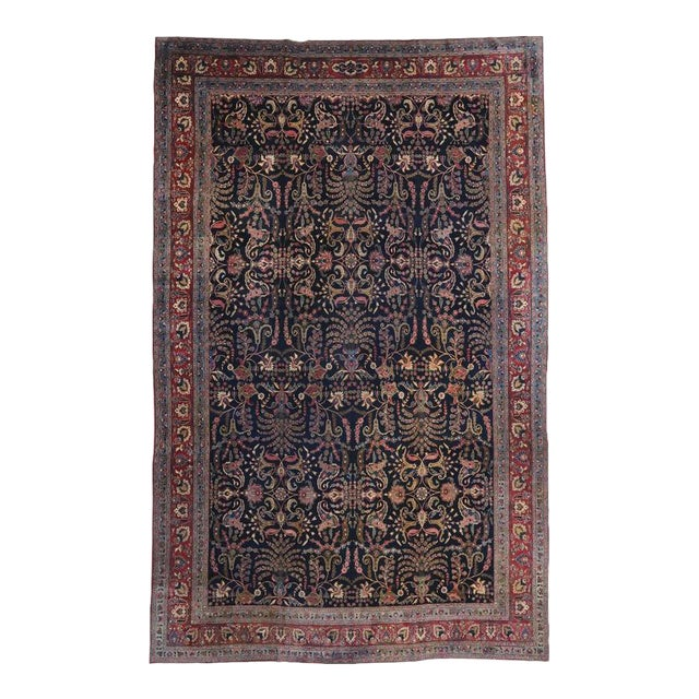 Antique Persian Mashhad Rug with Traditional Modern Style For Sale