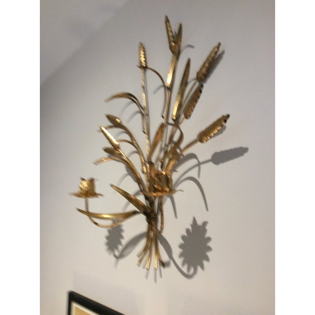 Italian 1970s Italian Wheat Tole Gold Gilt Candle Sconce For Sale - Image 3 of 8