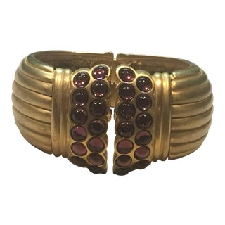 Matte Gold Tone Clamper Bracelet For Sale