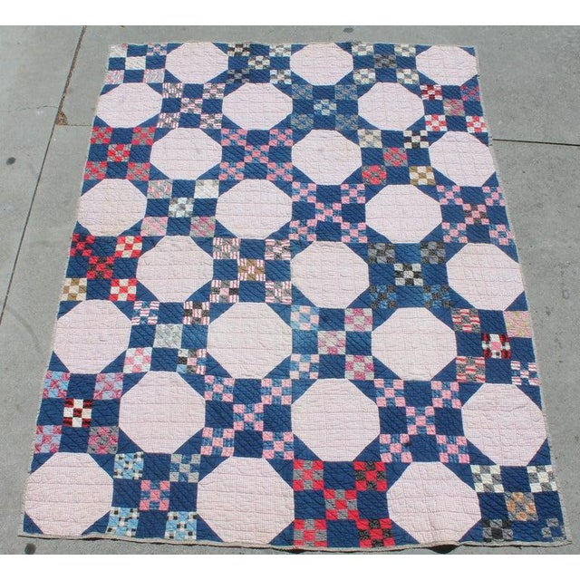 Antique Quilt in Nine Patch Postage Stamp Pattern For Sale - Image 4 of 7