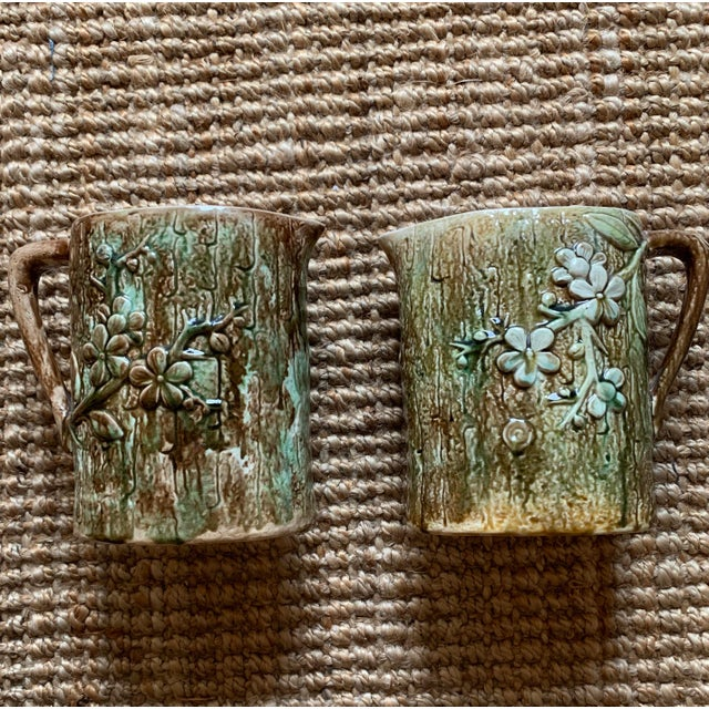 Antique English Majolica Pitchers- A Pair For Sale - Image 12 of 12
