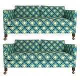 Image of Chinoiserie Regency Tuxedo Settees in Lattice Bamboo Upholstery - a Pair For Sale