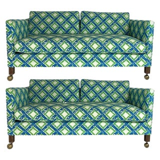 Chinoiserie Regency Tuxedo Settees in Lattice Bamboo Upholstery - a Pair For Sale
