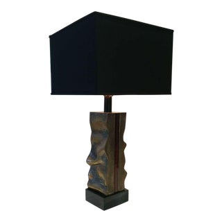 Signed Del Campo Sculptural Bronze Table Lamp For Sale