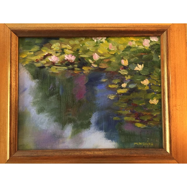 """""""Waterlilies"""" Contemporary Plein Air Landscape Oil Painting by Marina Movshina, Framed For Sale - Image 4 of 8"""
