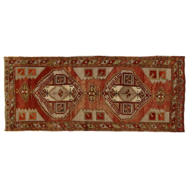 Mid 20th Century Vintage Turkish Oushak Gallery Rug, Wide Hallway Runner - 05'00 X 12'00 For Sale - Image 5 of 5