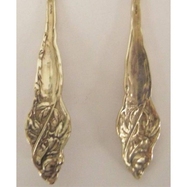 Metal Sterling Silver Serving Spoon and Fork For Sale - Image 7 of 11